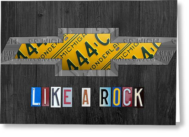 Metal Art Greeting Cards - Chevrolet Vintage Logo License Plate Art Like A Rock on Wood Boards Greeting Card by Design Turnpike