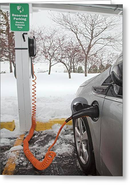 Chevrolet Volt Electric Car Charging Greeting Card by Jim West
