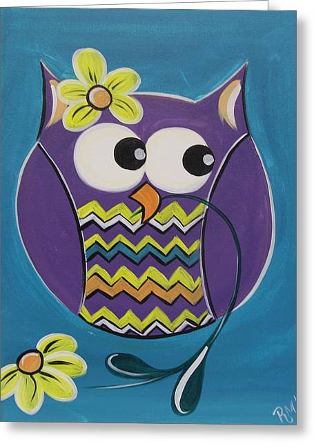 Chevron Owl Greeting Cards - Chevron Owl Greeting Card by Uptown Art