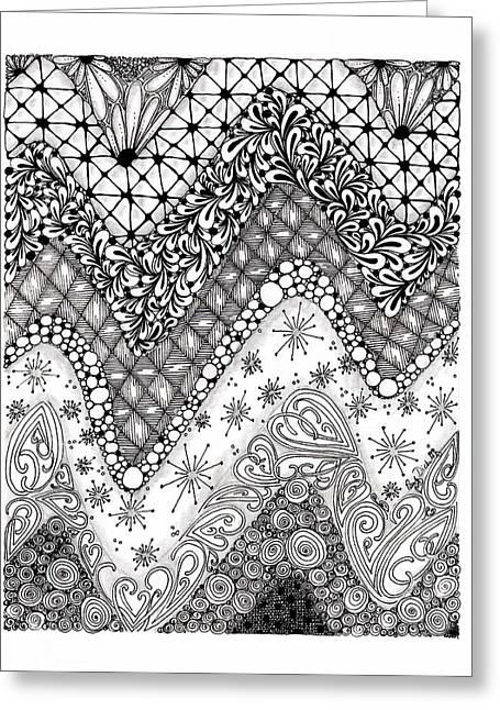 Chevron Tangle Greeting Card by Paula Dickerhoff