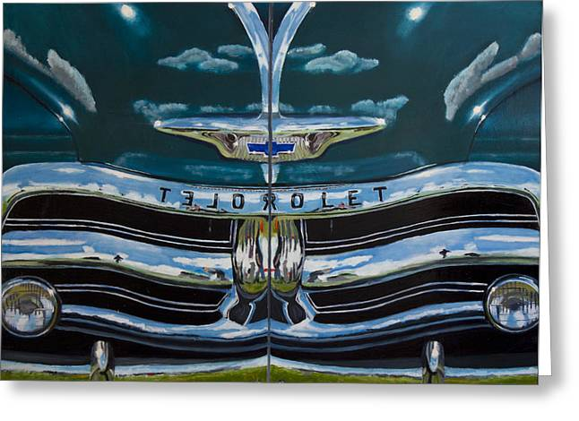 Classic Pickup Paintings Greeting Cards - Chevy 2 Ways Greeting Card by Jack Atkins