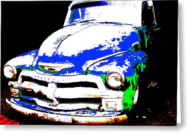 Colbalt Blue Greeting Cards - Chevy Art  Greeting Card by Mark Moore