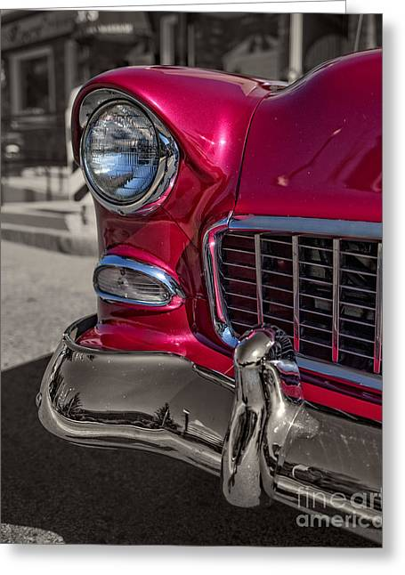 Chrome Grill Greeting Cards - Chevy Bel Air Greeting Card by Edward Fielding