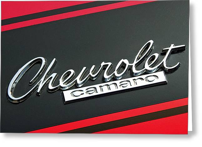 Chevy Camaro In Red Greeting Card by Charlette Miller