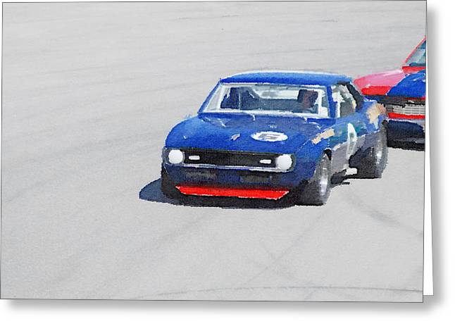 Chevy Greeting Cards - Chevy Camaro on Race Track Watercolor Greeting Card by Naxart Studio