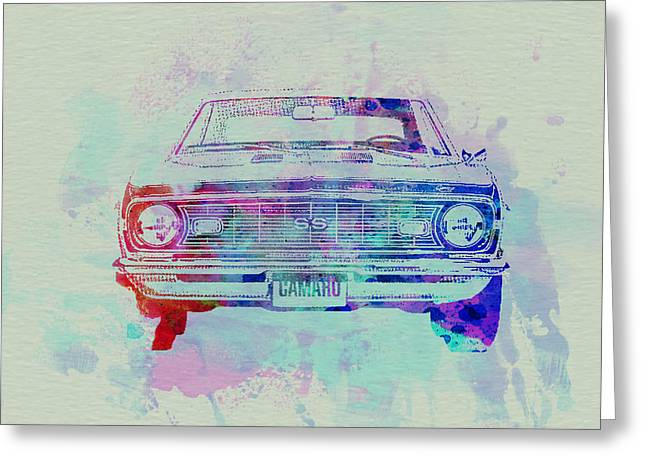 Historic Drawings Greeting Cards - Chevy Camaro Watercolor 2 Greeting Card by Naxart Studio