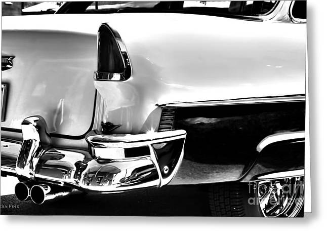 Vehicle Greeting Cards - Chevy Car Art Black and White Rear View Greeting Card by Lesa Fine