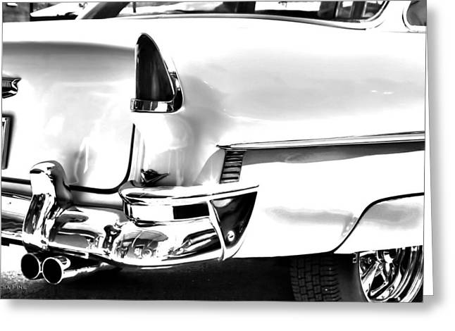 Chevy Greeting Cards - Chevy Car Art White Rear View Greeting Card by Lesa Fine