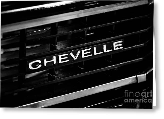 American Automobiles Greeting Cards - Chevy Chevelle Grill Emblem Black and White Picture Greeting Card by Paul Velgos