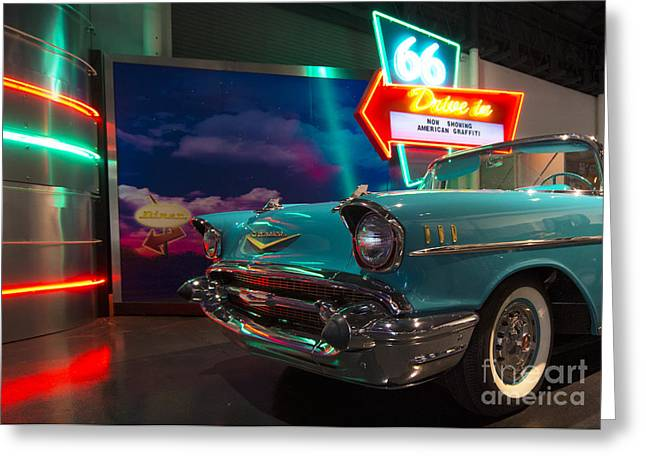 Drive In Movies Greeting Cards - Chevy Drive Inn  Greeting Card by Rob Hawkins