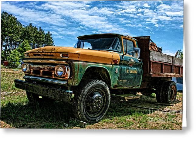 Karen Walker Greeting Cards - Chevy Dump Truck 2 Greeting Card by Karen Walker