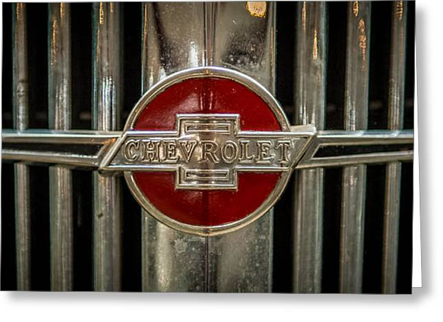 Original Art Photographs Greeting Cards - Chevy Emblem Greeting Card by Paul Freidlund