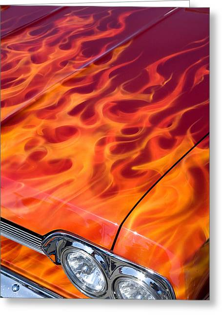 Chevy Flames Greeting Card by Peter Tellone