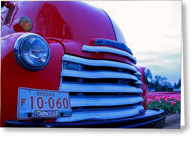 Tulip Tree Digital Art Greeting Cards - Chevy Grill Greeting Card by Kami McKeon