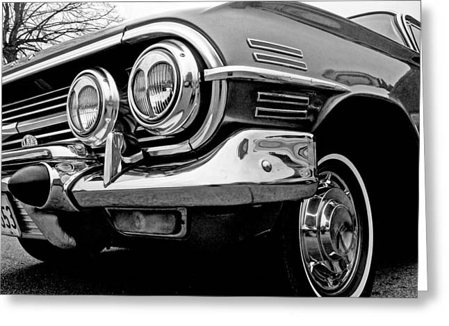 Powerful Car Greeting Cards - Chevy Impala Close Up Greeting Card by Gill Billington