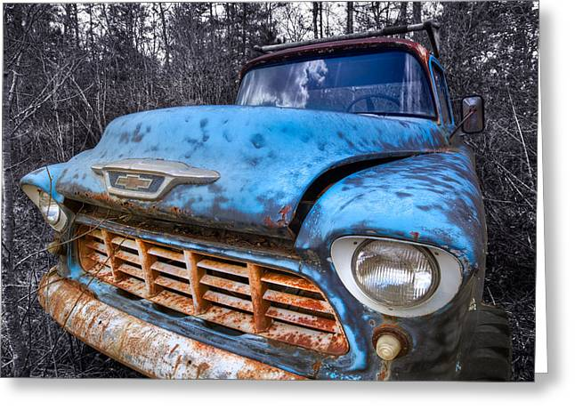 Chevy in the Woods Greeting Card by Debra and Dave Vanderlaan