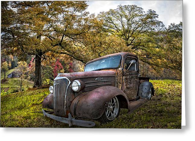 Autumn In The Country Greeting Cards - Chevy Pickup Truck Greeting Card by Debra and Dave Vanderlaan