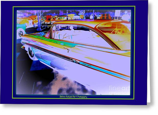 Print On Acrylic Greeting Cards - Chevy Psycho Delic Greeting Card by Bobbee Rickard