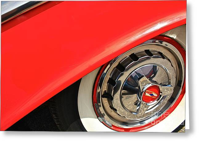 Red Chev Greeting Cards - Chevy Rim Greeting Card by Linda Bianic