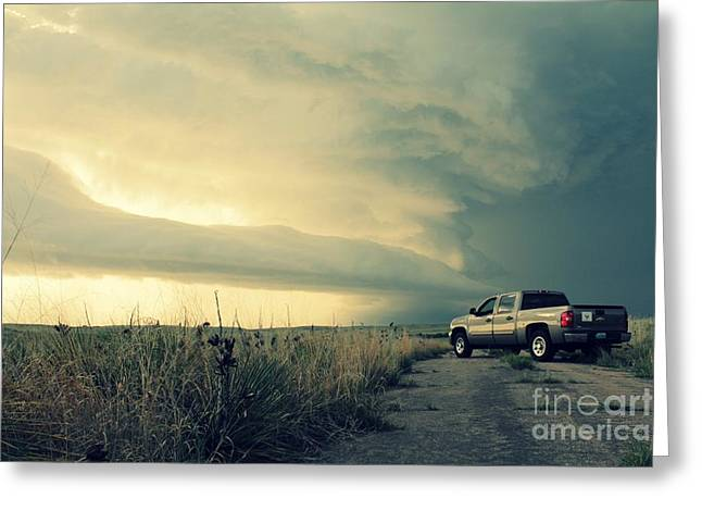 Storm Chasing Greeting Cards - Chevy Selfie Greeting Card by Josh Alecci