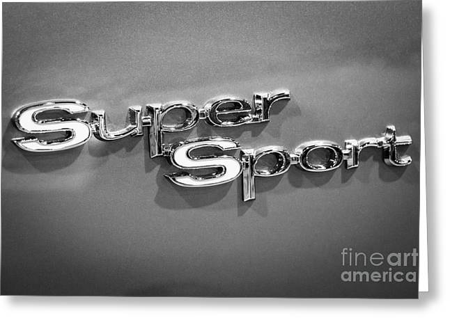 Chevy Super Sport Emblem Black And White Picture Greeting Card by Paul Velgos