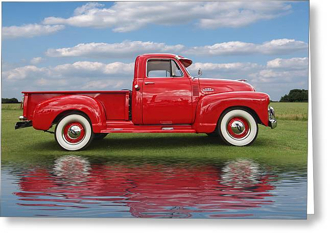 Water In Caves Greeting Cards - Chevy Truck By The Lake Greeting Card by Gill Billington