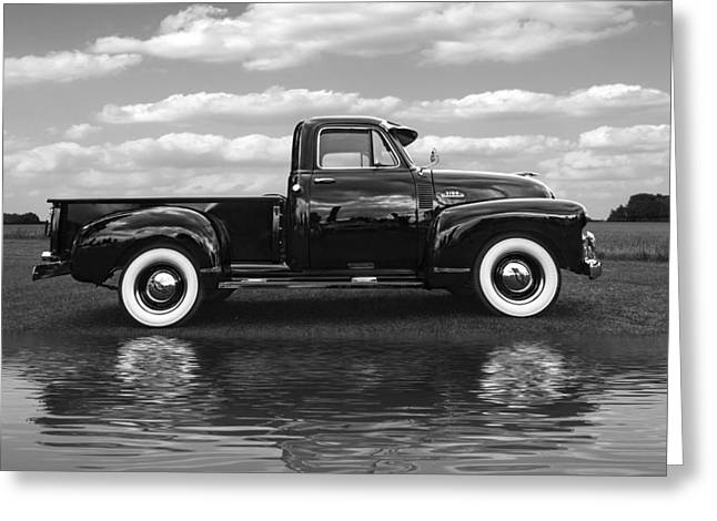 Water In Caves Greeting Cards - Chevy Truck By The Lake in Black and White Greeting Card by Gill Billington