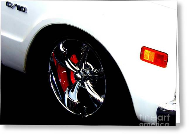 Print On Acrylic Greeting Cards - Chevy Wheel Greeting Card by Bobbee Rickard