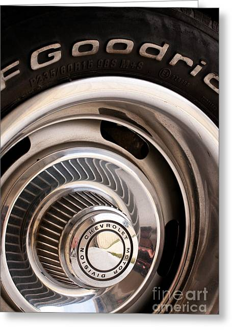 V8 Chevelle Greeting Cards - Chevy Wheel Greeting Card by Rick Piper Photography
