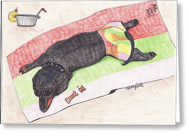 Black And Tan Dachshund Greeting Cards - Chewy Lewy Greeting Card by Nancy Suiter