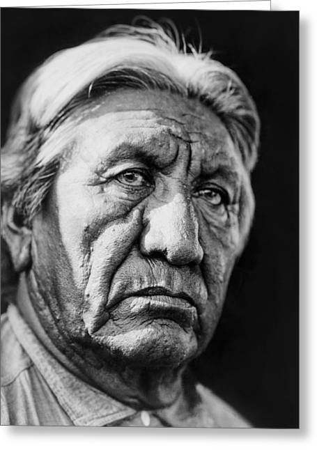 Gray Hair Greeting Cards - Cheyenne Indian Man circa 1927 Greeting Card by Aged Pixel