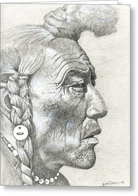 Native American Spirit Portrait Drawings Greeting Cards - Cheyenne Medicine Man Greeting Card by Bern Miller