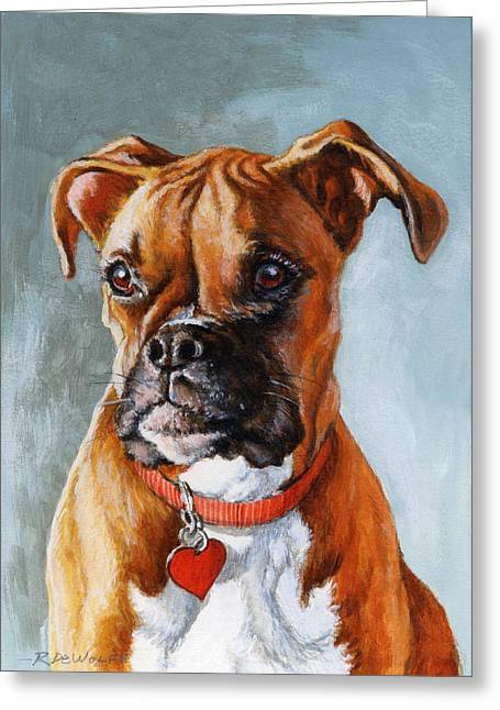 Boxer Dog Greeting Cards - Cheyenne Greeting Card by Richard De Wolfe