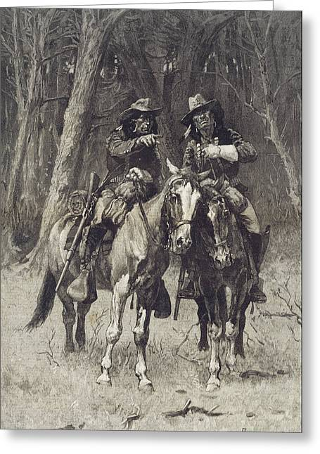 Remington Drawings Greeting Cards - Cheyenne Scouts Patrolling the Big Timber of the North Canadian Oklahoma Greeting Card by Frederic Remington