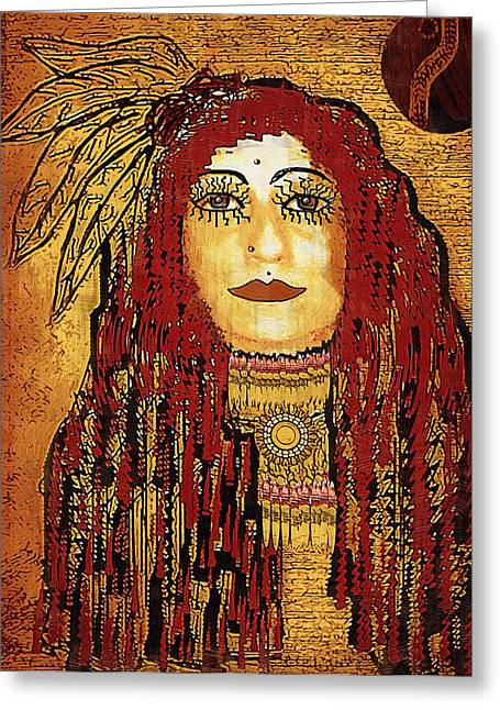 Brave Mixed Media Greeting Cards - Cheyenne Woman Warrior Greeting Card by Pepita Selles