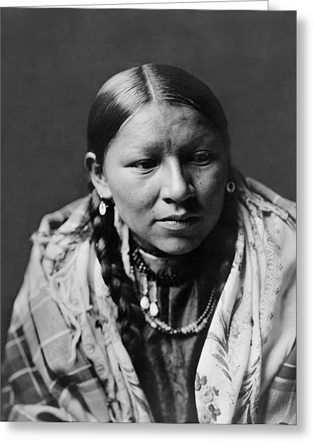 Braids Greeting Cards - Cheyenne young woman circa 1910 Greeting Card by Aged Pixel