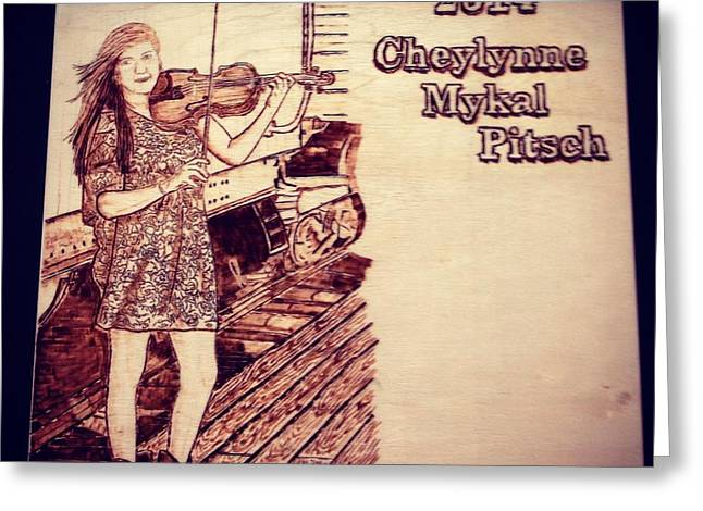 Engraving Pyrography Greeting Cards - Cheys Graduation Greeting Card by Lindsee Pitsch