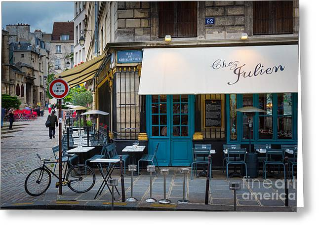 Table Greeting Cards - Chez Julien Greeting Card by Inge Johnsson