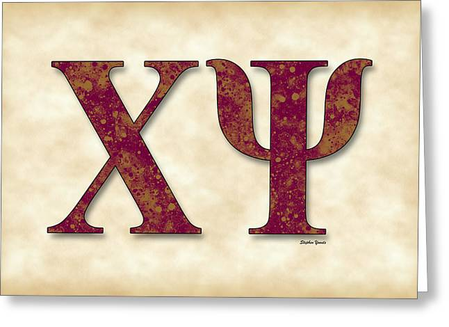 Nashville Tennessee Digital Art Greeting Cards - Chi Psi - Parchment Greeting Card by Stephen Younts