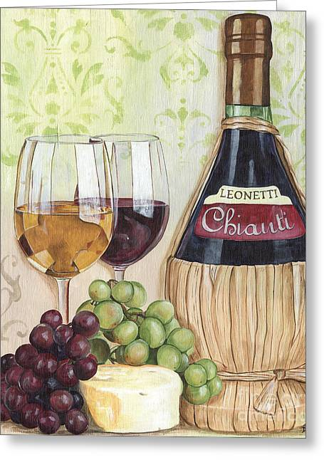 Wine Bottle Greeting Cards - Chianti and Friends Greeting Card by Debbie DeWitt