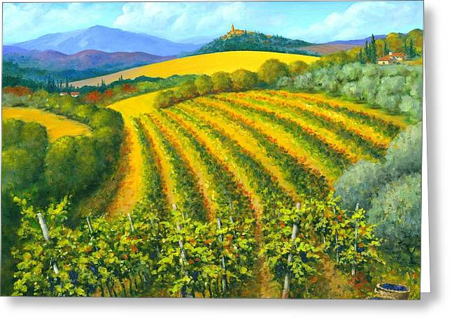 Tuscan Sunset Greeting Cards - Chianti Feeling 30 x 30 Greeting Card by Michael Swanson