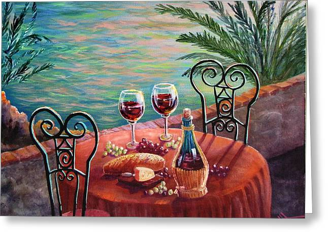 Wine Reflection Art Greeting Cards - Chianti Time Greeting Card by Marilyn Smith