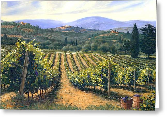 Mediterranean Landscape Greeting Cards - Chianti Vines Greeting Card by Michael Swanson