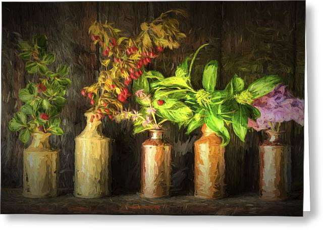 Chiaroscuro Style Image Retro Style Still Life Of Dried Flowers In Vase Against Worn Woo Greeting Card by Matthew Gibson