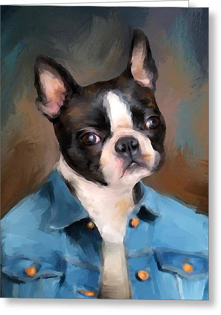 Dogs In Art Greeting Cards - Chic Boston Terrier Greeting Card by Jai Johnson