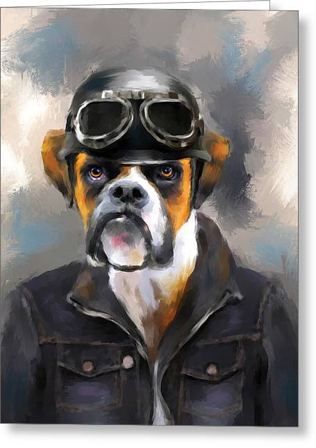Dogs In Art Greeting Cards - Chic Boxer Aviator Greeting Card by Jai Johnson