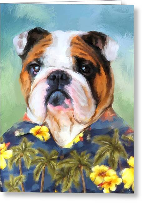 Whimsical Dog Art Greeting Cards - Chic English Bulldog Greeting Card by Jai Johnson