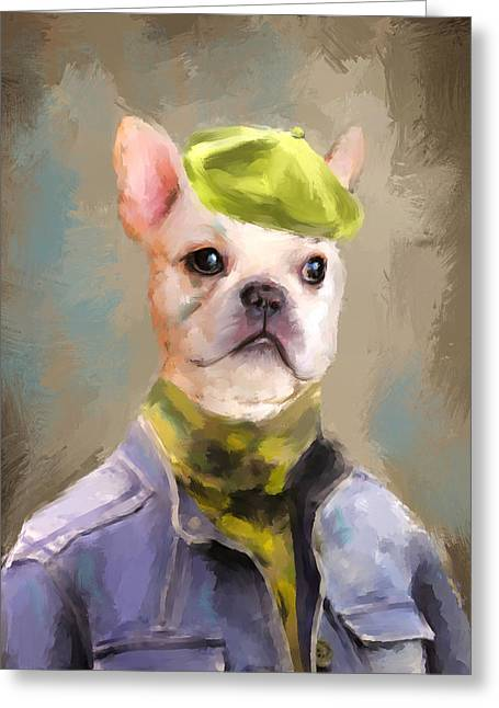 Dogs In Art Greeting Cards - Chic French Bulldog Greeting Card by Jai Johnson