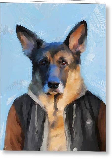 Dogs In Art Greeting Cards - Chic German Shepherd Greeting Card by Jai Johnson