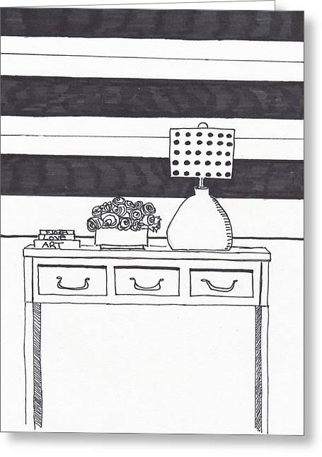 Interior Still Life Drawings Greeting Cards - Chic Interiors Greeting Card by Rosalina Bojadschijew